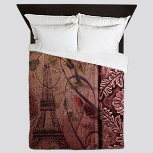 french botanical paris eiffel tower da Queen Duvet