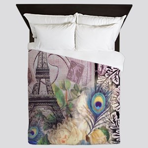 eiffel tower peacock feather floral pa Queen Duvet