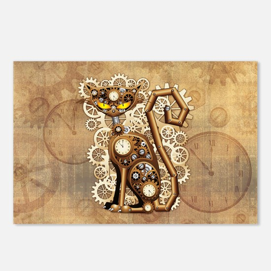Steampunk Cat Vintage Style Postcards (Package of