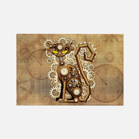 Steampunk Cat Vintage Style Magnets