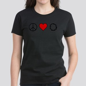 Peace, Love, and Lent Women's Tee, Dark Colors