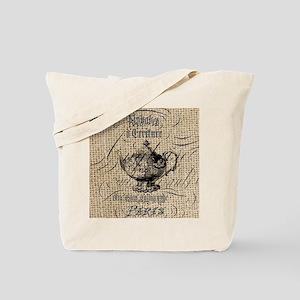 french scripts tea pot vintage burlap par Tote Bag
