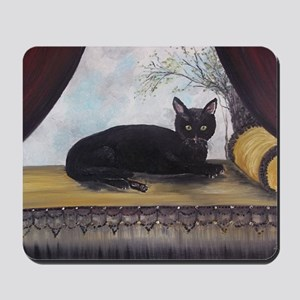 Black Cat by the Window Mousepad