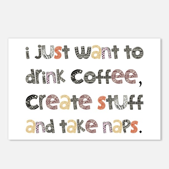 I Just Want To Drink Coffee Postcards (Package of