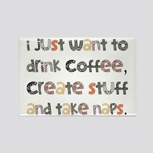 I Just Want To Drink Coffee Rectangle Magnet