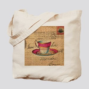 vintage teacup paris scripts  Tote Bag