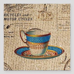 """vintage teacup burlap pa Square Car Magnet 3"""" x 3"""""""