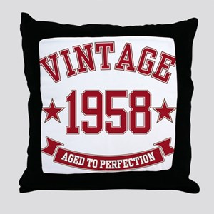 1958 Vintage Aged to Perfection Throw Pillow