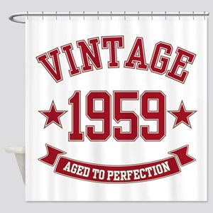 1959 Vintage Aged to Perfection Shower Curtain
