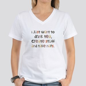 Drink Tea, Create, Take Naps Women's V-Neck T-Shir