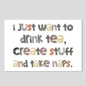 Drink Tea, Create, Take Naps Postcards (Package of