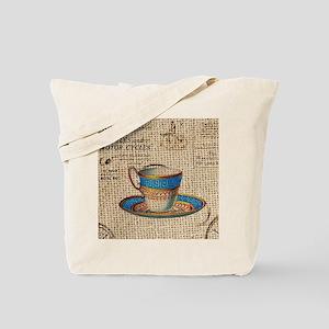 vintage teacup burlap paris scripts Tote Bag