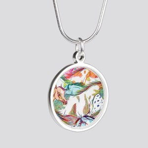 horses of color Silver Round Necklace