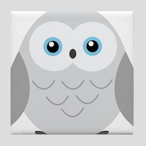 Sweet Snowy Owl Tile Coaster