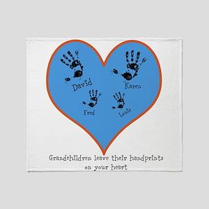 Personalized handprints 4 grandkids Throw Blanket