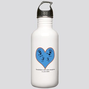 Personalized handprints 4 grandkids Water Bottle