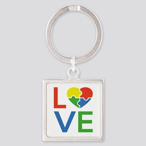 Autism Love Square Keychain