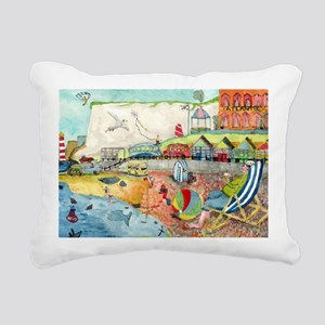 1950's SEASIDE SCENE Rectangular Canvas Pillow