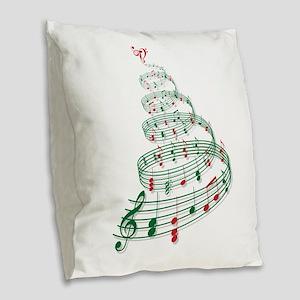 Music Christmas tree Burlap Throw Pillow