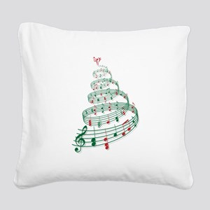 Music Christmas tree Square Canvas Pillow