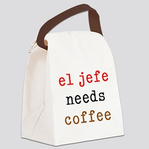 el jefe needs coffee Canvas Lunch Bag