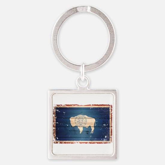 Wyoming State Flag Square Keychain