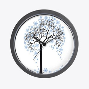 Winter tree with birds Wall Clock