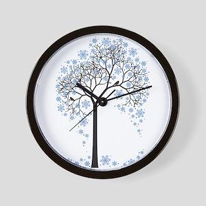 Winter tree with birds Wall Clock