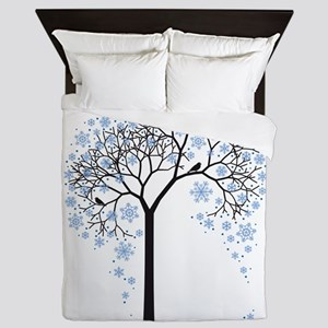 Winter tree with birds Queen Duvet