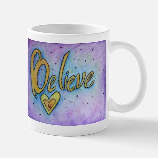 Believe Word Art Mugs