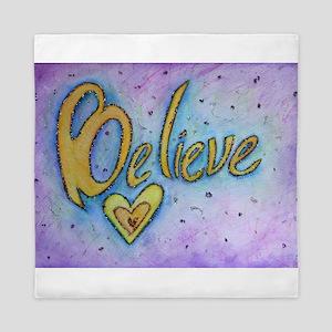 Believe Word Art Queen Duvet