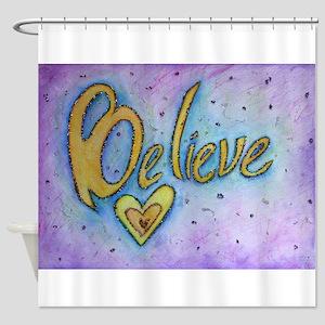 Believe Word Art Shower Curtain