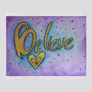 Believe Word Art Throw Blanket