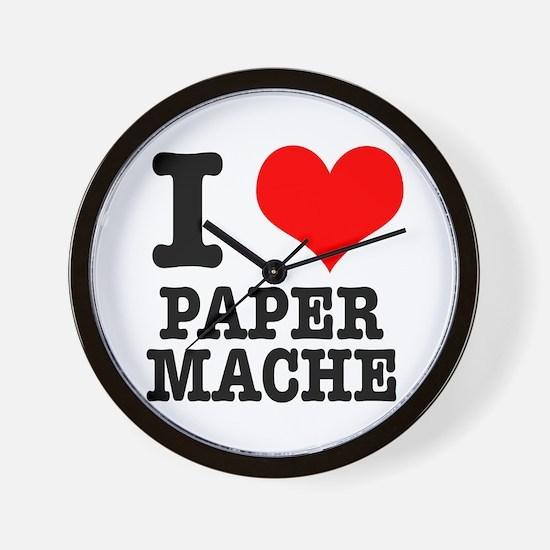 I Heart (Love) Paper Mache Wall Clock