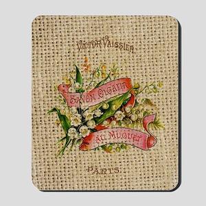 vintage scripts  floral french art Mousepad