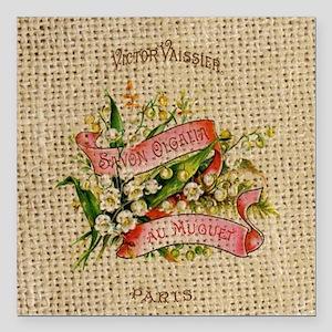 """vintage scripts  floral  Square Car Magnet 3"""" x 3"""""""