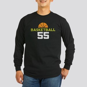 Custom Basketball Player 55 Long Sleeve Dark T-Shi