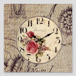 """vintage clock floral bur Square Car Magnet 3"""" x 3"""""""