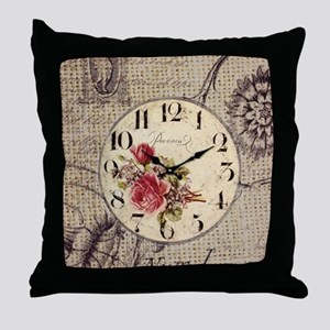 vintage clock floral burlap scripts Throw Pillow