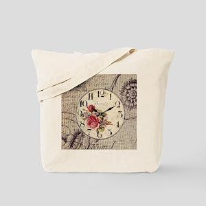 vintage clock floral burlap scripts Tote Bag