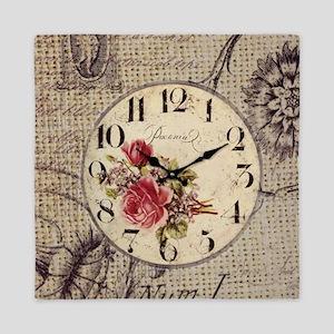 vintage clock floral burlap scripts Queen Duvet