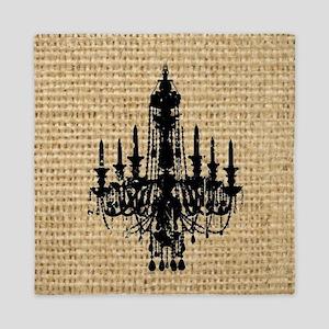 black chandelier burlap paris fashion Queen Duvet
