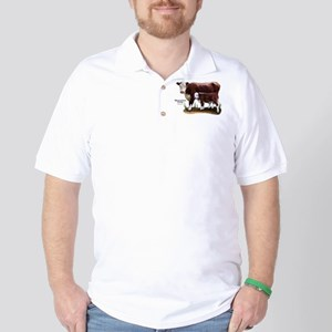 Hereford Cow and Calf Golf Shirt