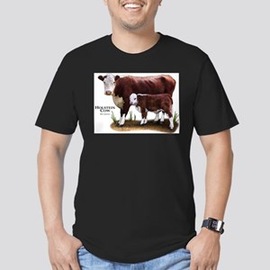 Hereford Cow and Calf Men's Fitted T-Shirt (dark)