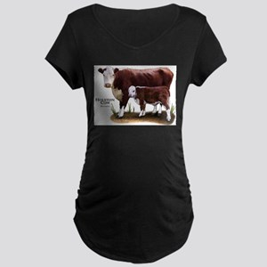 Hereford Cow and Calf Maternity Dark T-Shirt