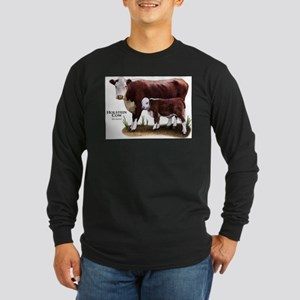 Hereford Cow and Calf Long Sleeve Dark T-Shirt
