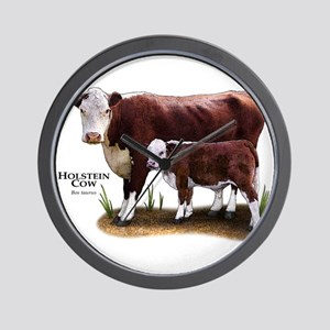 Hereford Cow and Calf Wall Clock