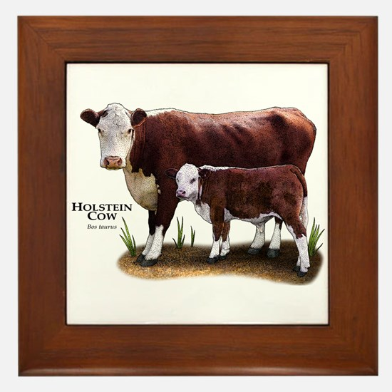 Hereford Cow and Calf Framed Tile