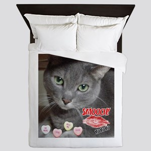 Valentine Russian Blue Gray Cat Queen Duvet