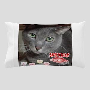 Valentine Russian Blue Gray Cat Pillow Case